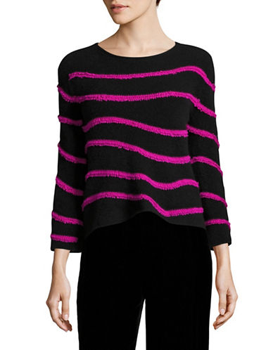 Armani Collezioni Striped Knit Sweater-BLACK/FUCHSIA-EUR 38/US 2
