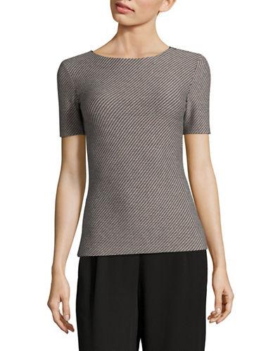 Armani Collezioni Textured Jersey T-Shirt-BEIGE/BLACK-EUR 42/US 6