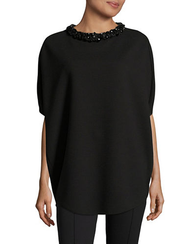 Armani Collezioni Ribbed Statement Neck Top-BLACK-EUR 50/US 14