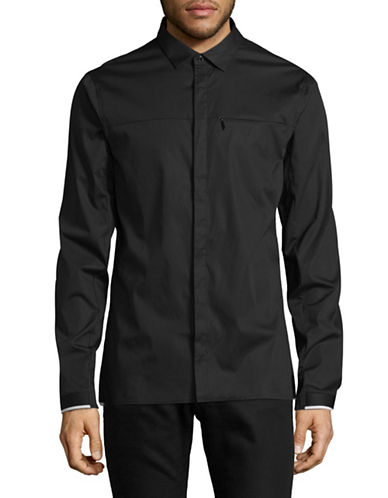 Armani Exchange Stretch Sport Shirt-BLACK-Small