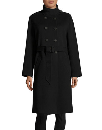 Armani Collezioni Belted Double-Faced Wool-Cashmere Coat-BLACK-13X72 INCHES