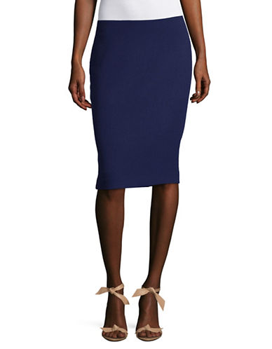Armani Collezioni Wool Pencil Skirt-BLUE-EUR 50/US 14