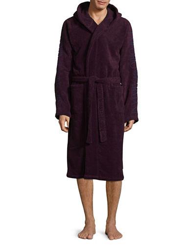 Emporio Armani Underwear Hooded Cotton Robe-RED-Medium