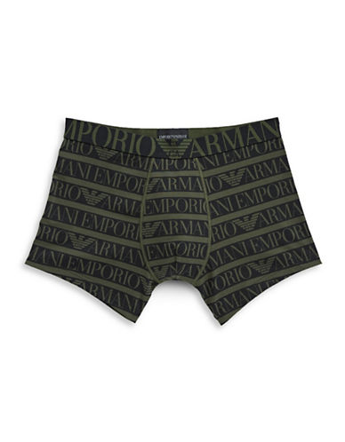 Emporio Armani Underwear All-Over Logo Boxer Brief-BLACK-Small