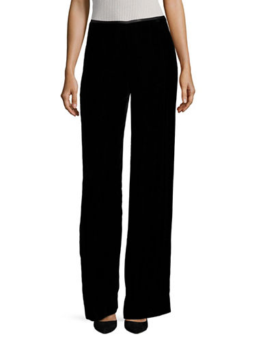 Armani Collezioni Velvet Wide-Leg Trousers-BLACK-EUR 40/US 4