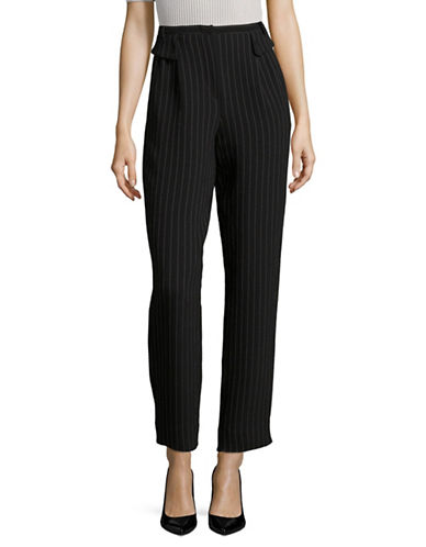 Armani Collezioni Chalk Stripe Wool-Blend Pants-BLACK/WHITE-EUR 38/US 2