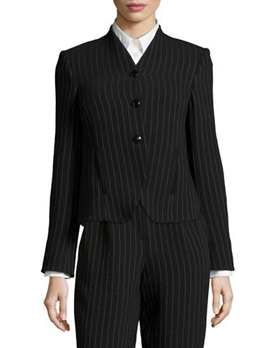 Armani Collezioni Chalk Stripe Wool-Blend Jacket-BLACK/WHITE-EUR 38/US 2
