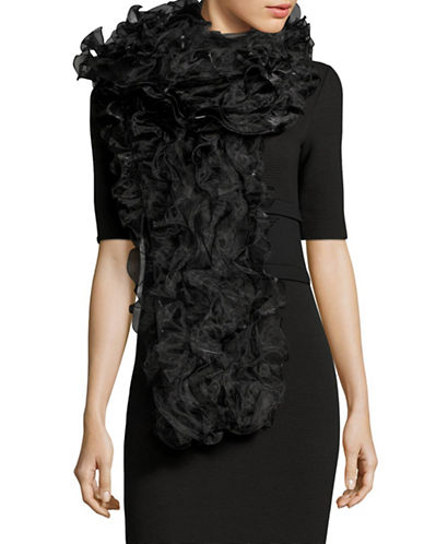 Armani Collezioni Ruffled Tulle Scarf-BLACK-One Size