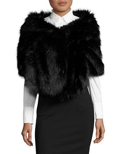 Armani Collezioni Faux Fur Stole-BLACK-One Size
