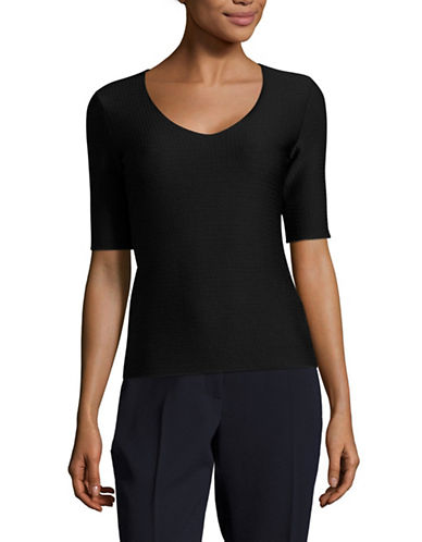 Armani Collezioni Textured Jersey V-Neck T-Shirt-BLACK-EUR 42/US 6