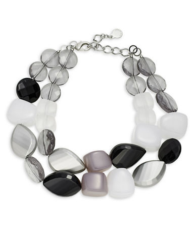 Armani Collezioni Two-Row Geometric Necklace-BLACK/GREY-One Size