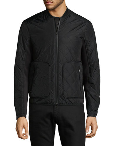 Armani Exchange Quilted Bomber Jacket-BLACK-Medium