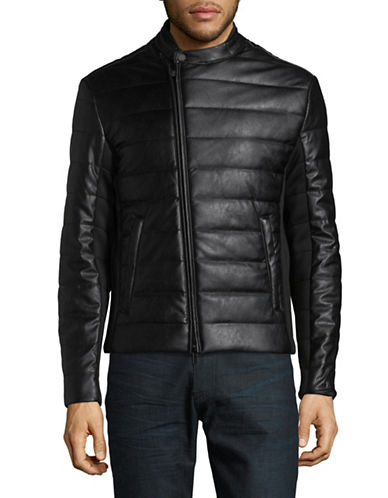 Armani Exchange Quilted Bomber Jacket-BLACK-Small