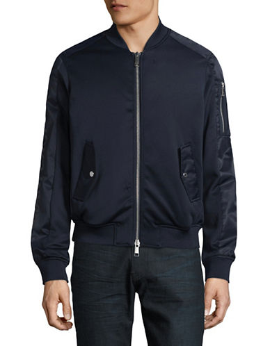 Armani Exchange Mixed Media Bomber Jacket-NAVY-Medium