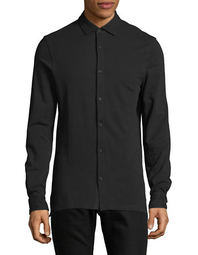 Armani Exchange Classic Cotton Sportshirt-BLACK-Large