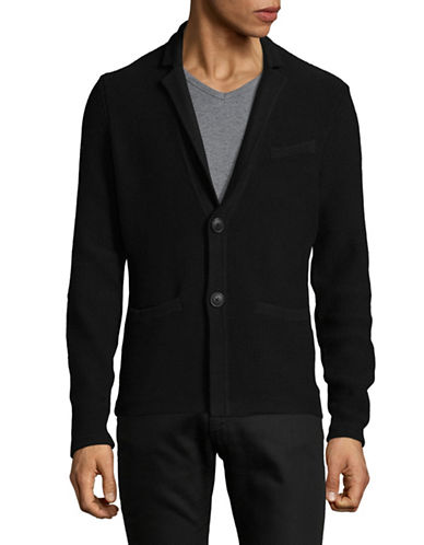 Armani Exchange Textured Cardigan Jacket-BLACK-Large