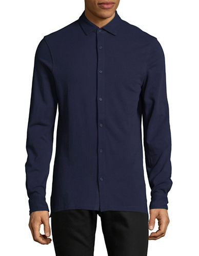 Armani Exchange Classic Cotton Sportshirt-BLUE-Large