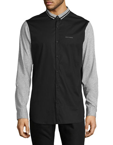 Armani Exchange Kit-Woven Combo Shirt-BLACK-Large