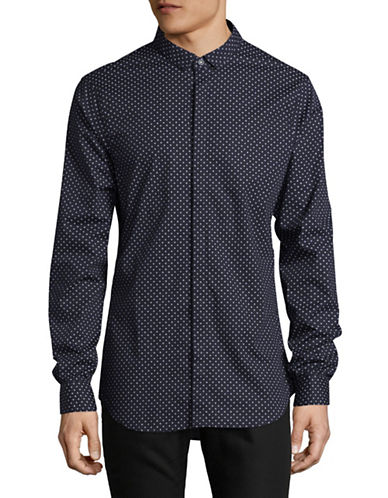 Armani Exchange Polka Dot Shirt-BLUE-X-Large