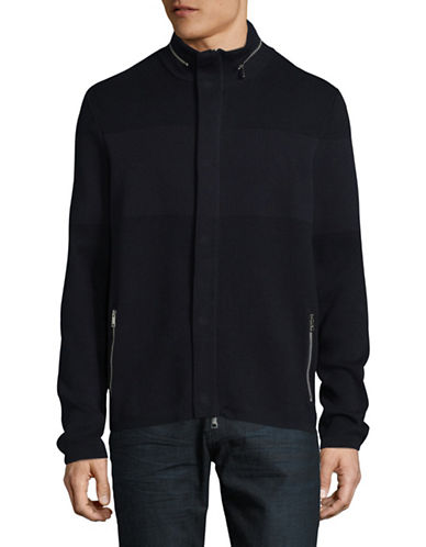 Armani Exchange Knit Zip Cardigan-NAVY-Small