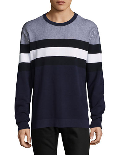 Armani Exchange Striped Sweater-NAVY/WHITE-Large