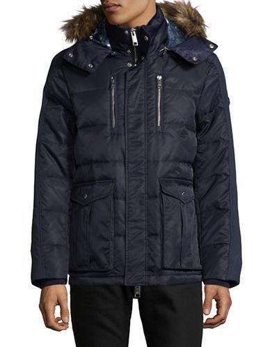 Armani Exchange Armoni Faux Fur-Trimmed Coat-BLUE-Large