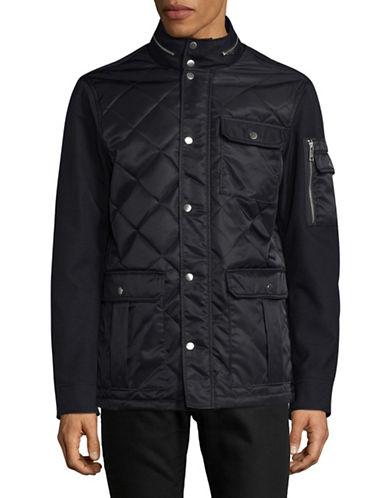 Armani Exchange Texture Quilt Combo Jacket-NAVY-Small