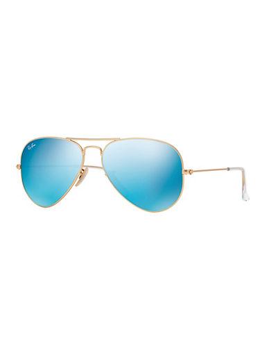 Ray-Ban Original Classic Aviator Sunglasses-MATTE GOLD/BLUE MIRRORED LENSES (112/17)-58 mm