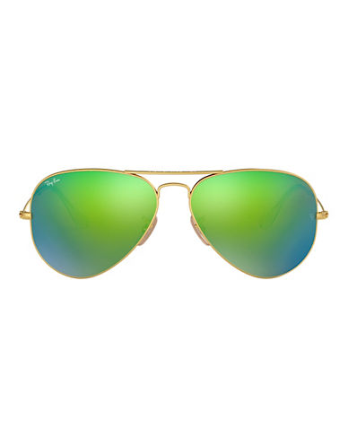Ray-Ban Original Classic Aviator Sunglasses-MATTE GOLD/GREEN MIRRORED LENSES (112/19)-58 mm