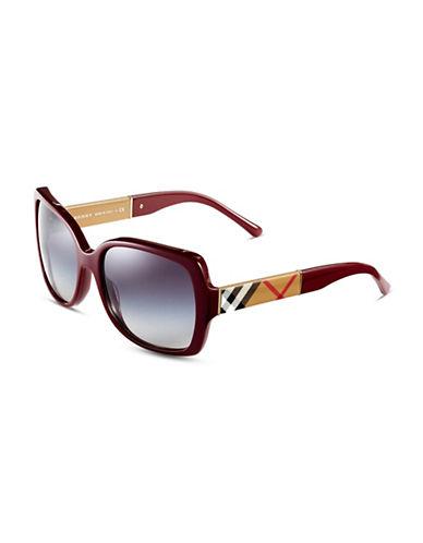 Burberry Square Signature Plaid Sunglasses-BORDEAUX-One Size