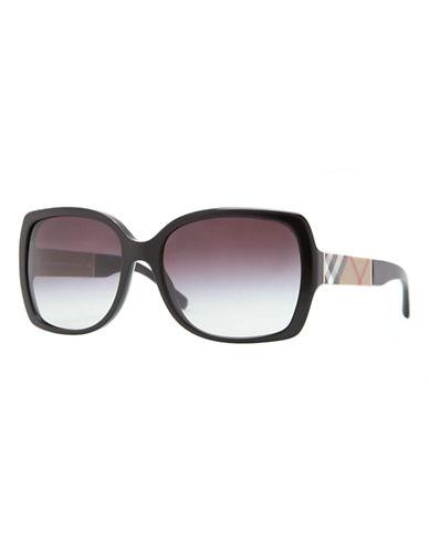 Burberry Square Signature Plaid Sunglasses-BLACK-One Size