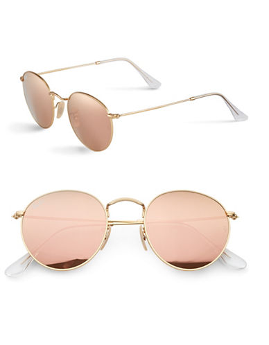 Ray-Ban John Lennon Round Sunglasses-GOLD/ PINK MIRRORED LENSES (112/Z2)-50 mm