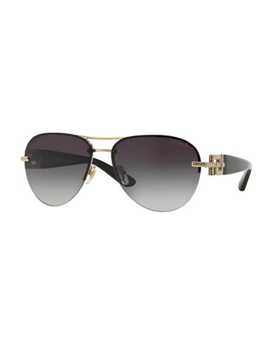 Versace Rock Icons Bright Crystal Aviator Sunglasses-PALE GOLD/GREY-One Size