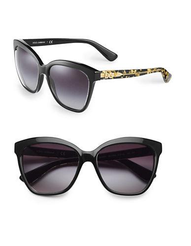 Dolce & Gabbana Gold Leaf 57mm Square Sunglasses-CRYSTAL/BLACK-One Size