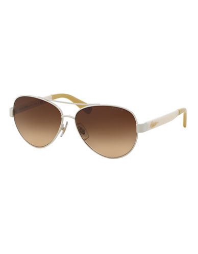 Ralph By Ralph Lauren Eyewear Script Logo 58mm Aviator Sunglasses-WHITE-One Size