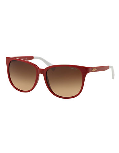 Ralph By Ralph Lauren Eyewear Script Logo 57mm Square Sunglasses-RED-One Size