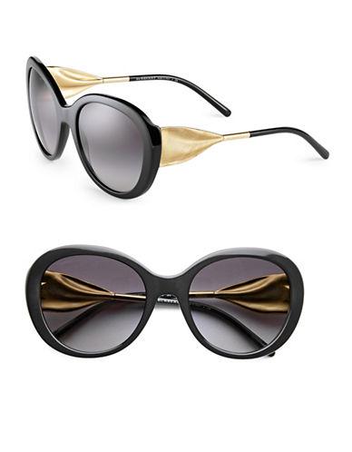Burberry 57mm Round Ribbon Arm Sunglasses-BLACK-One Size