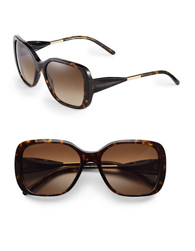 Burberry 56mm Gabardine Square Sunglasses-DARK HAVANA-One Size