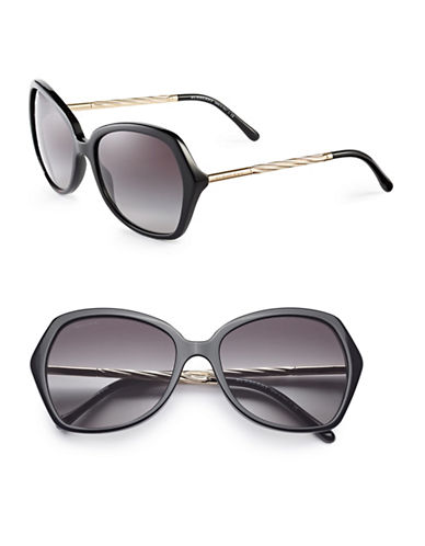 Burberry 57mm Gabardine Oversize Square Sunglasses-BLACK-One Size
