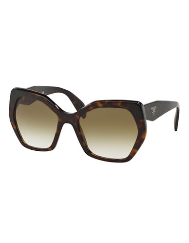 Prada Angular 56MM Pentagonal Sunglasses-HAVANA-One Size