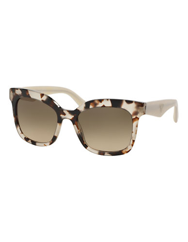 Prada Hertiage Logo Square Sunglasses-SPOTTED OPAL BROWN-One Size