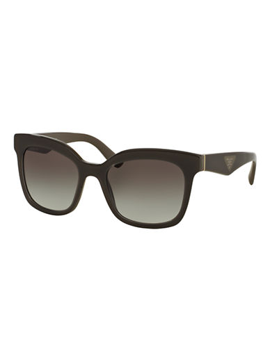 Prada Hertiage Logo Square Sunglasses-OPAL BROWN ON BROWN-One Size