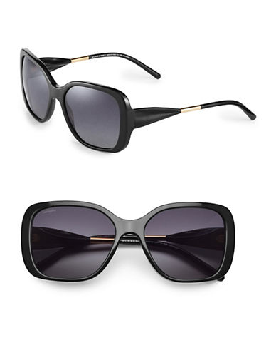 Burberry 56mm Gabardine Square Sunglasses-BLACK-One Size