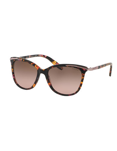 Ralph By Ralph Lauren Eyewear Essential 54mm Extended Temple Inlayed Cat-Eye Sunglasses-RED HAVANA-One Size