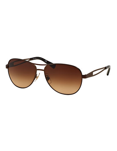 Ralph By Ralph Lauren Eyewear Open-Temple 58mm Aviator Sunglasses-BROWN-One Size
