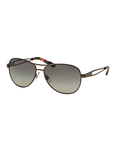 Ralph By Ralph Lauren Eyewear Open-Temple 58mm Aviator Sunglasses-GUNMETAL-One Size