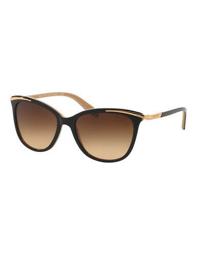 Ralph By Ralph Lauren Eyewear Essential 54mm Extended Temple Inlayed Cat-Eye Sunglasses-HAVANA-One Size