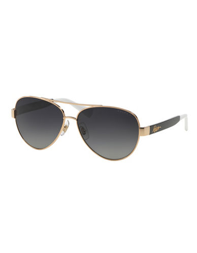 Ralph By Ralph Lauren Eyewear Script Logo 58mm Aviator Sunglasses-BLACK (POLARIZED)-One Size