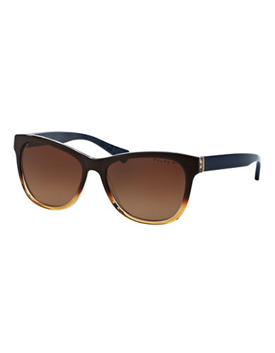 Ralph By Ralph Lauren Eyewear Essential Logo 54mm Square Sunglasses-HAVANA (POLARIZED)-One Size