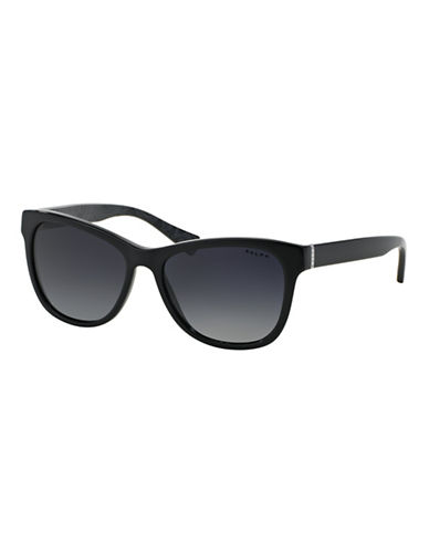 Ralph By Ralph Lauren Eyewear Essential Logo 54mm Square Sunglasses-BLACK (POLARIZED)-One Size